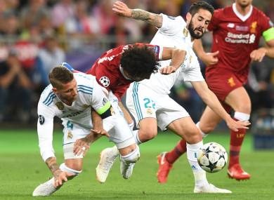 Ramos fouls Salah during Saturday's Champions League final.
