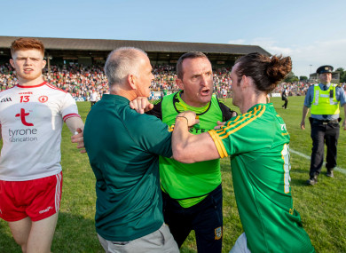 A furious Andy McEntee after the game in Navan.