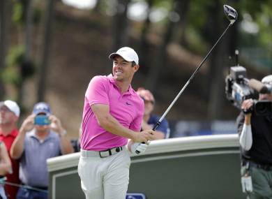 7c849b17f00 Rory McIlroy of Northern Ireland watches his drive on 18 during the Second  Round of the