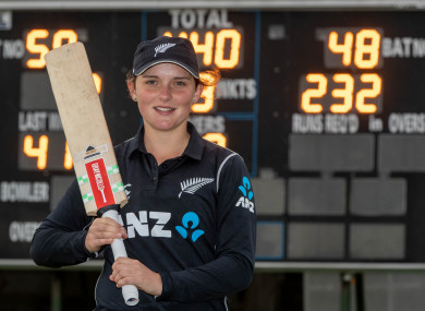 Amelia Kerr pictured after her record-breaking innings.