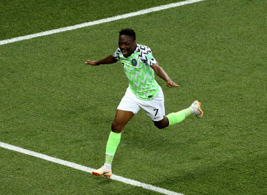 Musa celebrates scoring his second goal on Friday.