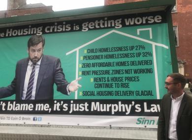 Sinn Féin's mobile billboard outside Government Buildings on Tuesday.