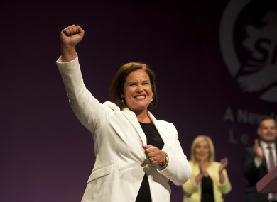 Sinn Féin leader Mary Lou McDonald after her Ard Fheis speech this evening.