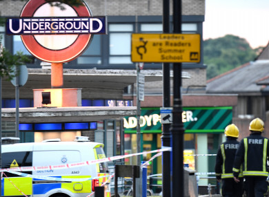 Emergency services at the scene at Southgate tube station after reports of a minor explosion.