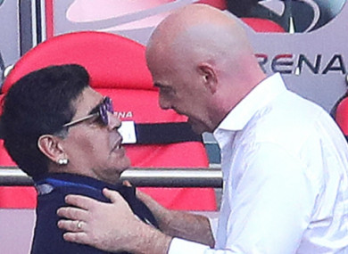 Political football: Diego Maradona and FIFA chief Gianni Infantino.
