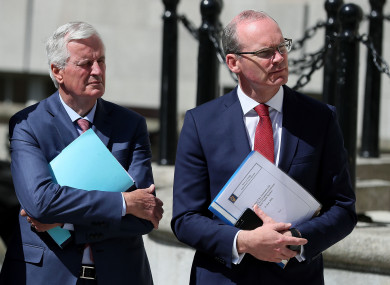 Michel Barnier, EU Chief Negotiator for Brexit with Simon Coveney at Leinster House.