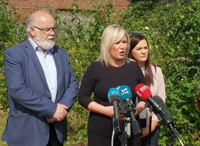 Sinn Féin Northern Ireland leader Michelle O'Neill speaks to media at a press conference in Coalisland, Co Tyrone