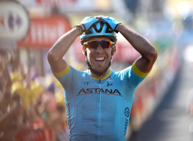 Fraile reacts after crossing the line on Saturday.