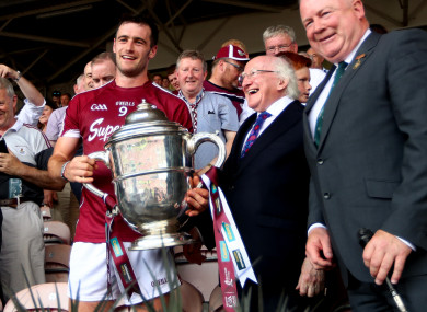 David Burke with the Leinster senior hurling trophy after Galway's victory.