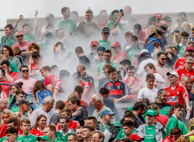 Cork and Limerick fans on Hill 16 during today's clash.