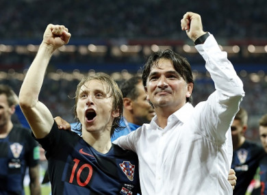Dalic celebrates with Luka Modric.