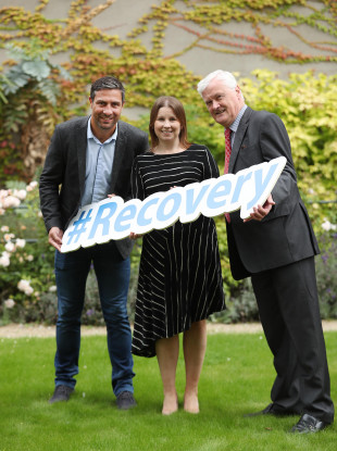 Kenny Egan with Maebh Mullany and Dr John O'Connor at the launch of recovery month.