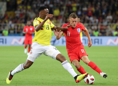 Vardy up against Colombian defender Yerry Mina last night.
