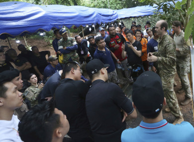 US Special Operations Command Pacific Search and Rescue team personnel meeting with China rescue team, Thai Rescue amd Australia Rescue