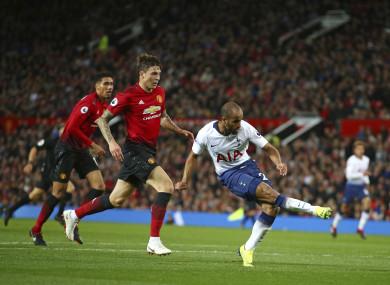 Tottenham Hotspur's Lucas Moura scores his side's third goal.