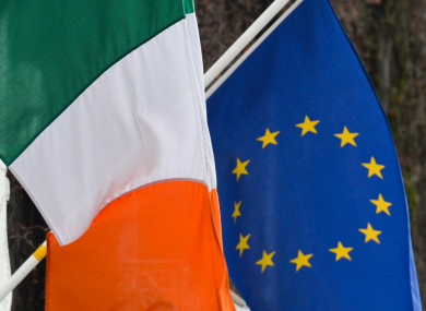 Irish and EU flags side-by-side in Dublin.