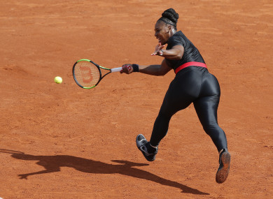 Serena Williams pictured competing in her 'Black Panther' catsuit.