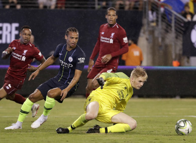 Kelleher in pre-season action for Liverpool against Manchester City.