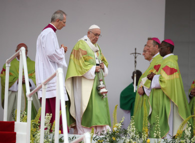Pope Francis attends the closing Mass at the World Meeting of Families at the Phoenix Park in Dublin