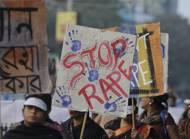 Protesters at a rally against a previous gang rape incident in New Delhi.