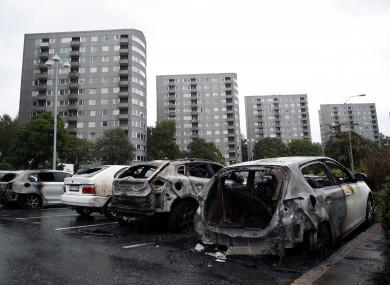 Burned cars at Frölunda Square in Gothenburg.