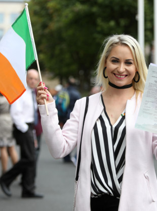 Sylwia Zablotna, originally from Poland, at the Citizenship Ceremony on Monday.