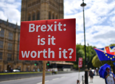 A placard at an anti-Brexit demonstration  outside the Houses of Parliament in London.
