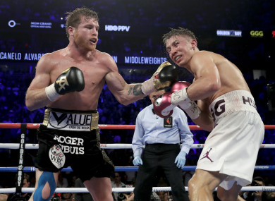 Canelo Alvarez lands a punch against Gennady Golovkin in the 12th round.