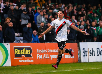 Dinny Corcoran celebrates giving Bohemians the lead on Sunday in Phibsborough.