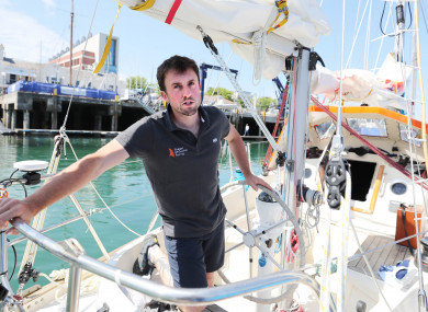 Gregor McGuckin on his yacht in Dun Laoghaire harbour before he sets off on the Golden Globe solo round the world race.