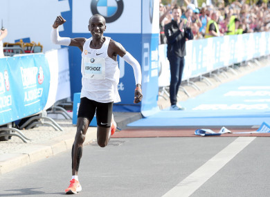 Eliud Kipchoge celebrates his success.
