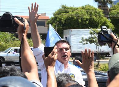 Jair Bolsonaro at a campaign rally earlier this week