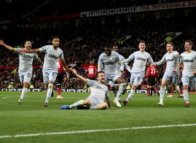 Derby celebrate Jack Marriott's goal.