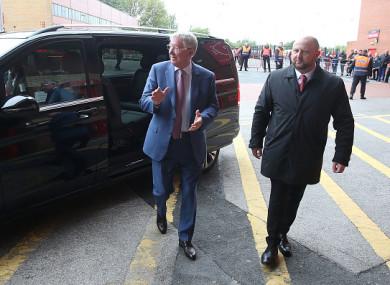 Ferguson arriving at Old Trafford earlier.