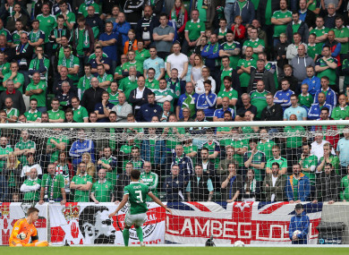 Goalkeeper Bailey Peacock-Farrell looks on as Bosnia and Herzegovina score their opening goal.