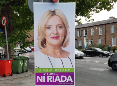 A poster for Sinn Féin candidate Liadh Ní Riada in Drumcondra this morning