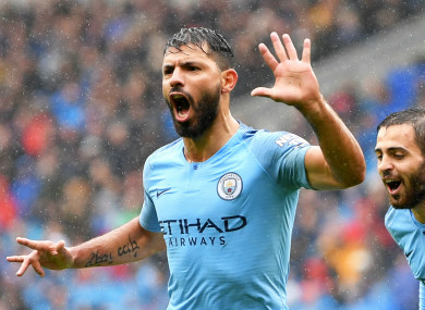 Manchester City striker Sergio Aguero scored on his 300th appearance.