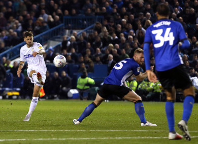 Leeds United's Mateusz Klich scores his side's equaliser.