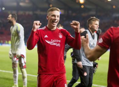 Lewis Ferguson celebrates Aberdeen's win on Sunday at Hampden Park.