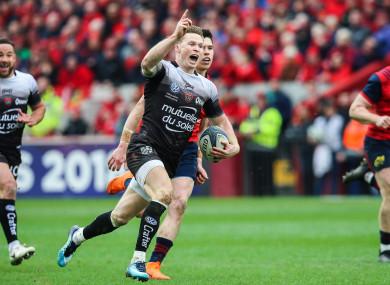 Ashton celebrates scoring against Munster last season.