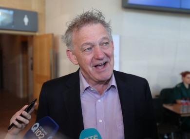 Peter Casey speaks to the media at the convention centre, Dublin.