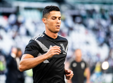 Cristiano Ronaldo during a Serie A match between Juventus and Napoli at the Allianz Stadium.