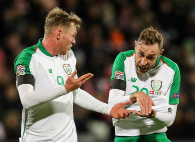 Ireland's Aiden O'Brien and Richard Keogh pictured during last night's match.