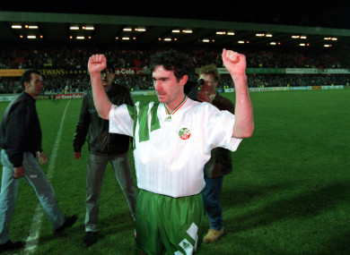 Alan McLoughlin pictured after that famous World Cup qualifier against Northern Ireland.