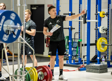 Beauden Barrett in the gym in the Institute of Sport yesterday.