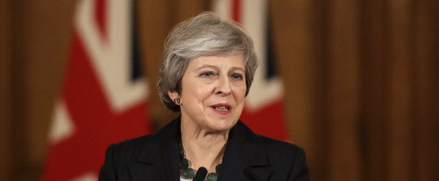 British Prime Minister Theresa May during a press conference at 10 Downing Street earlier today