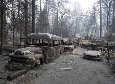 Burnt vehicles in Paradise, California.