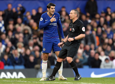 Chelsea's Alvaro Morata (left) speaks to referee Kevin Friend after goal is disallowed.