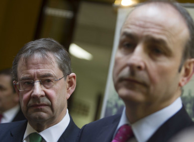 Party Leader of Fianna Fail Micheal Martin with Galway West TD Eamon O Cuiv.