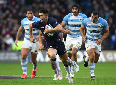 Adam Hastings streaks clear of the Pumas.